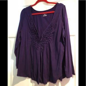 Lane Bryant women's purple button down blouse